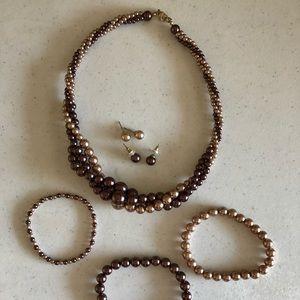 Pearl necklace, earrings, & bracelet set